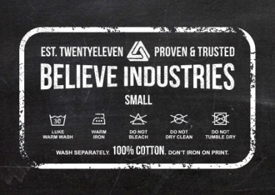 T-shirt Design   Believe Industries Tag